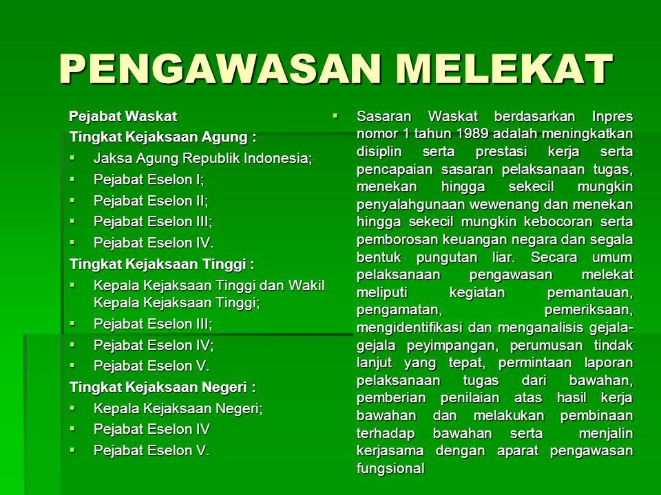 PENGAWASAN MELEKAT Pejabat Waskat Tingkat Kejaksaan Agung :  Jaksa Agung Republik Indonesia;  Pejabat Eselon I;  Pejabat Eselon II;  Pejabat Eselo