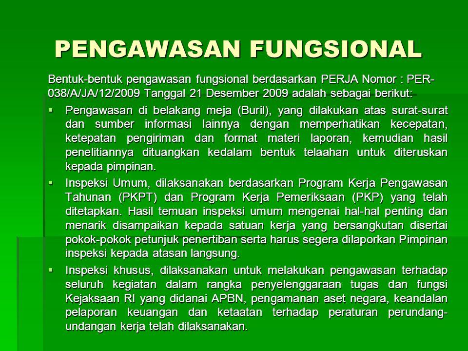 PENGAWASAN FUNGSIONAL Bentuk-bentuk pengawasan fungsional berdasarkan PERJA Nomor : PER- 038/A/JA/12/2009 Tanggal 21 Desember 2009 adalah sebagai beri
