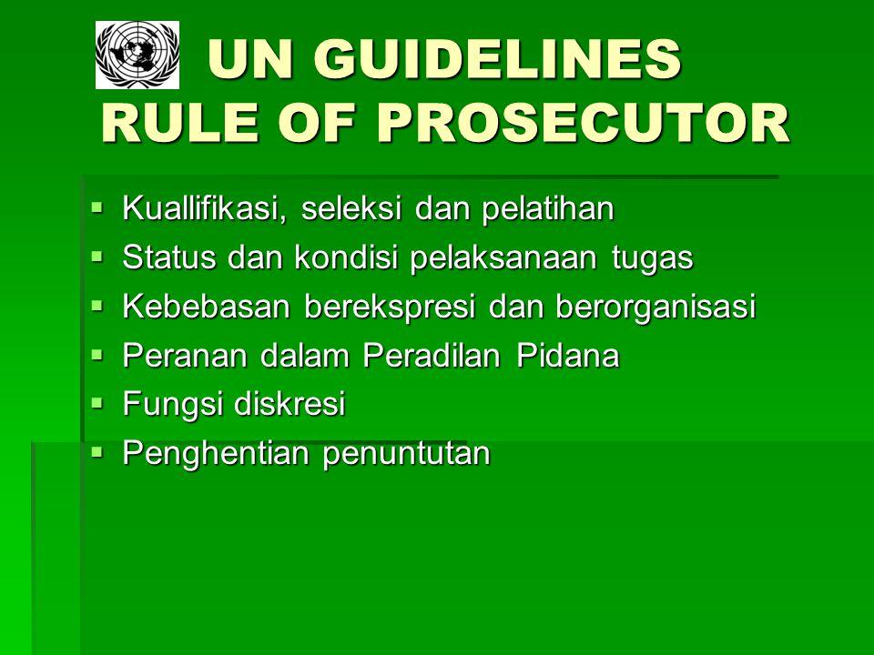 UN GUIDELINES RULE OF PROSECUTOR  Kuallifikasi, seleksi dan pelatihan  Status dan kondisi pelaksanaan tugas  Kebebasan berekspresi dan berorganisas