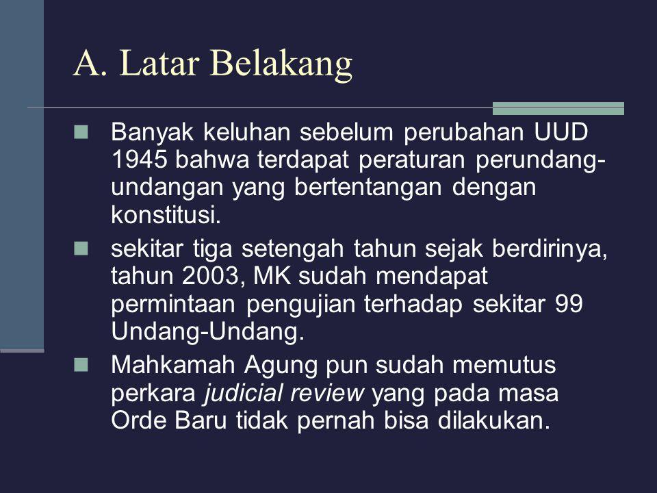 A. Latar Belakang Banyak keluhan sebelum perubahan UUD 1945 bahwa terdapat peraturan perundang- undangan yang bertentangan dengan konstitusi. sekitar