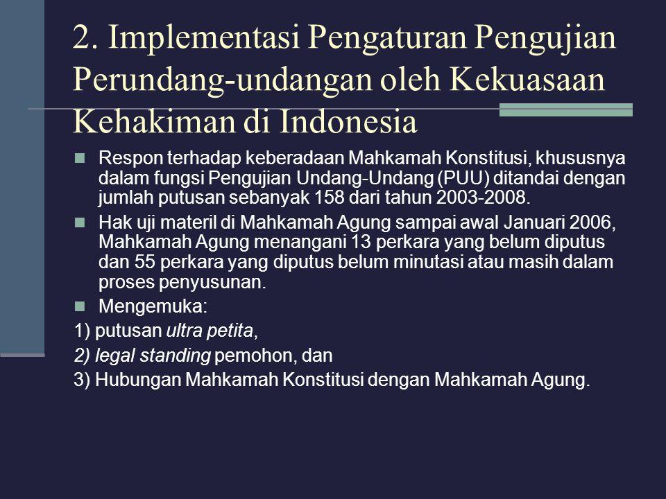 2. Implementasi Pengaturan Pengujian Perundang-undangan oleh Kekuasaan Kehakiman di Indonesia Respon terhadap keberadaan Mahkamah Konstitusi, khususny