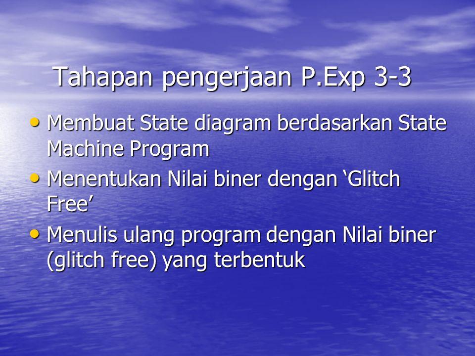 Tahapan pengerjaan P.Exp 3-3 Membuat State diagram berdasarkan State Machine Program Membuat State diagram berdasarkan State Machine Program Menentuka