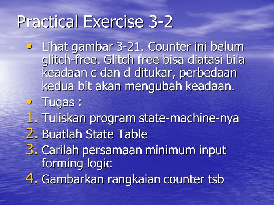 Practical Exercise 3-2 Lihat gambar 3-21. Counter ini belum glitch-free. Glitch free bisa diatasi bila keadaan c dan d ditukar, perbedaan kedua bit ak