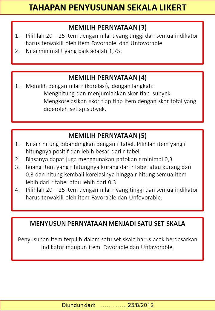 TAHAPAN PENYUSUNAN SEKALA LIKERT TAHAPAN PENYUSUNAN (1) 1.Menentukan dan memahami dengan baik apa yang akan diukur 2.Menyusun Blue Print untuk memandu
