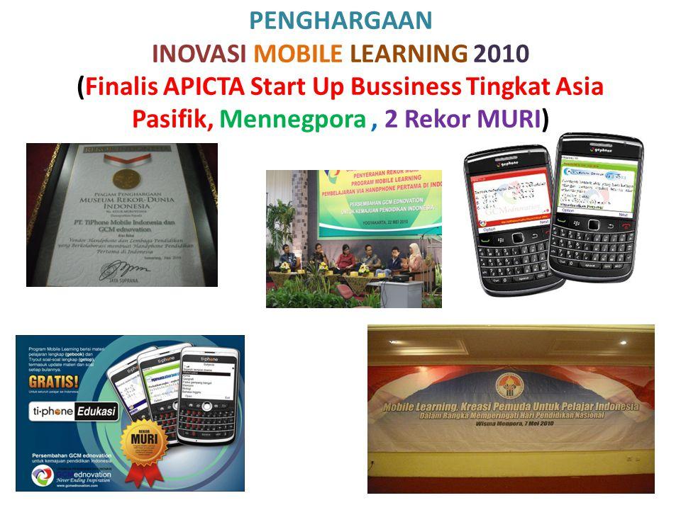 PENGHARGAAN INOVASI MOBILE LEARNING 2010 (Finalis APICTA Start Up Bussiness Tingkat Asia Pasifik, Mennegpora, 2 Rekor MURI)