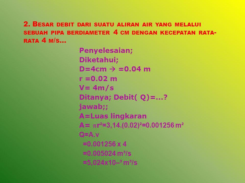 3.A IR MENGALIR MELALUI PIPA DERDIAMETER 1.0 M DAN KECEPATAN 1,5 M / S.