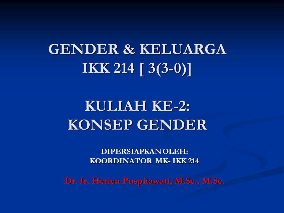 GENDER & KELUARGA IKK 214 [ 3(3-0)] KULIAH KE-2: KONSEP GENDER DIPERSIAPKAN OLEH: KOORDINATOR MK- IKK 214 Dr. Ir. Herien Puspitawati, M.Sc., M.Sc.