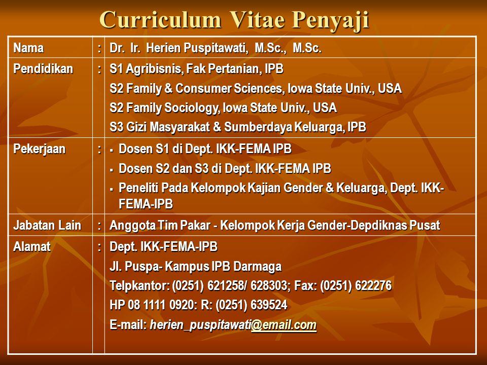 Curriculum Vitae Penyaji Nama: Dr. Ir. Herien Puspitawati, M.Sc., M.Sc. Pendidikan: S1 Agribisnis, Fak Pertanian, IPB S2 Family & Consumer Sciences, I