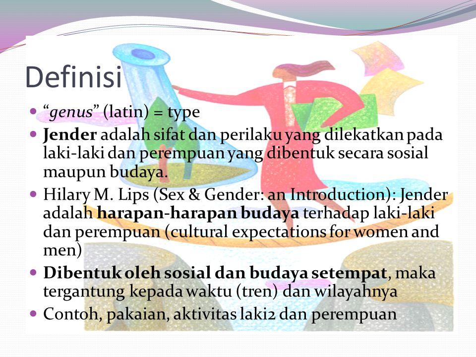 Definisi genus (latin) = type Jender adalah sifat dan perilaku yang dilekatkan pada laki-laki dan perempuan yang dibentuk secara sosial maupun budaya.