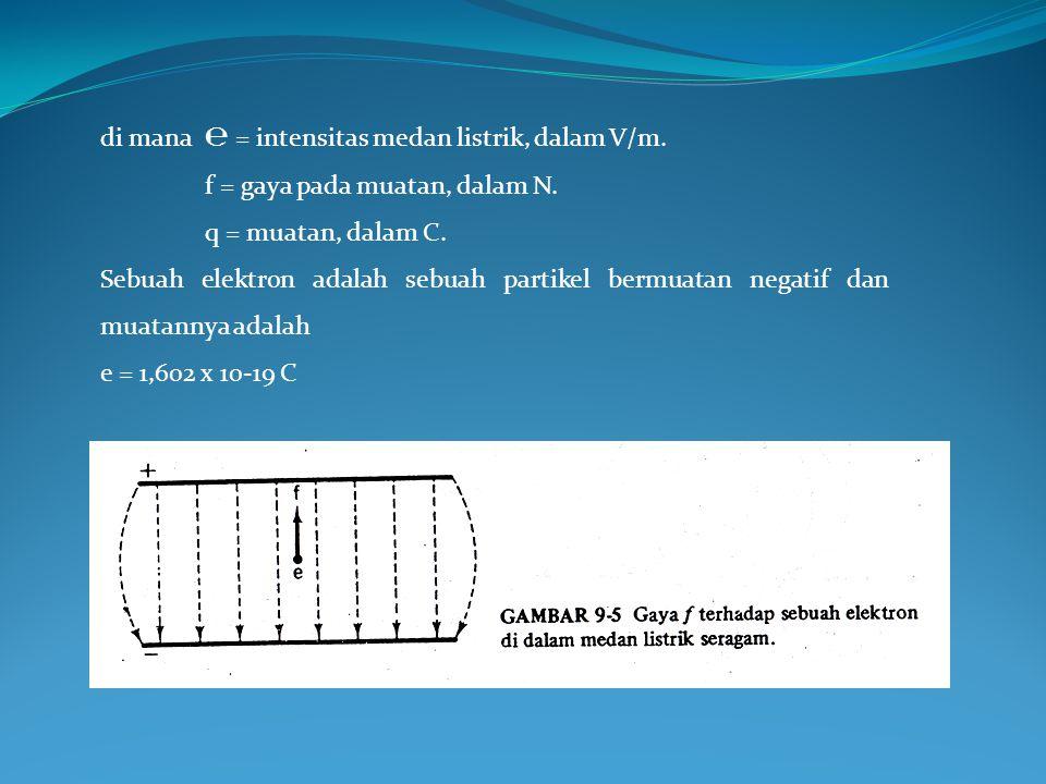 di mana℮ = intensitas medan listrik, dalam V/m. f = gaya pada muatan, dalam N. q = muatan, dalam C. Sebuah elektron adalah sebuah partikel bermuatan n