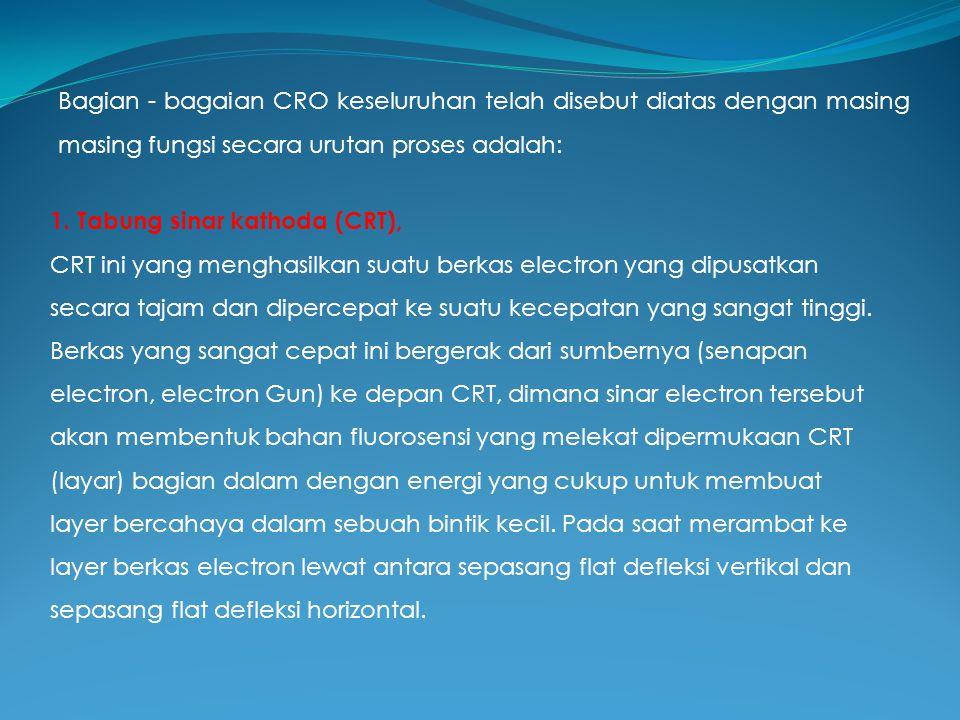Bagian - bagaian CRO keseluruhan telah disebut diatas dengan masing masing fungsi secara urutan proses adalah: 1. Tabung sinar kathoda (CRT), CRT ini