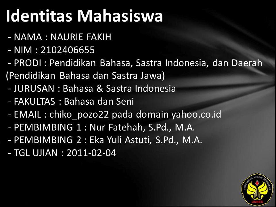 Identitas Mahasiswa - NAMA : NAURIE FAKIH - NIM : 2102406655 - PRODI : Pendidikan Bahasa, Sastra Indonesia, dan Daerah (Pendidikan Bahasa dan Sastra J