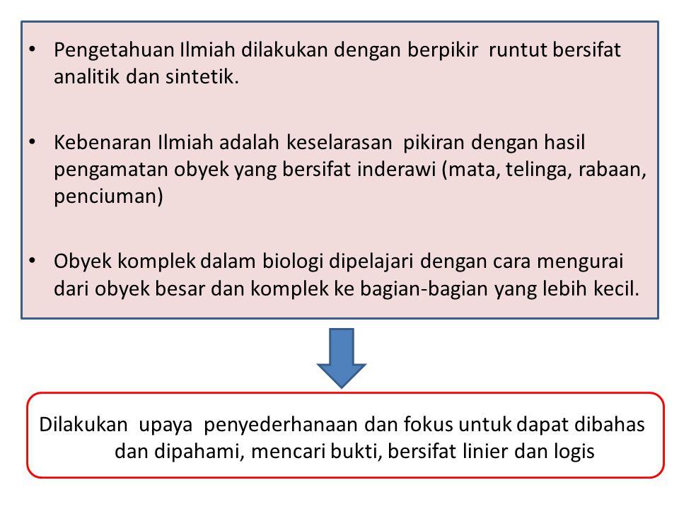 Pengetahuan Ilmiah dilakukan dengan berpikir runtut bersifat analitik dan sintetik.