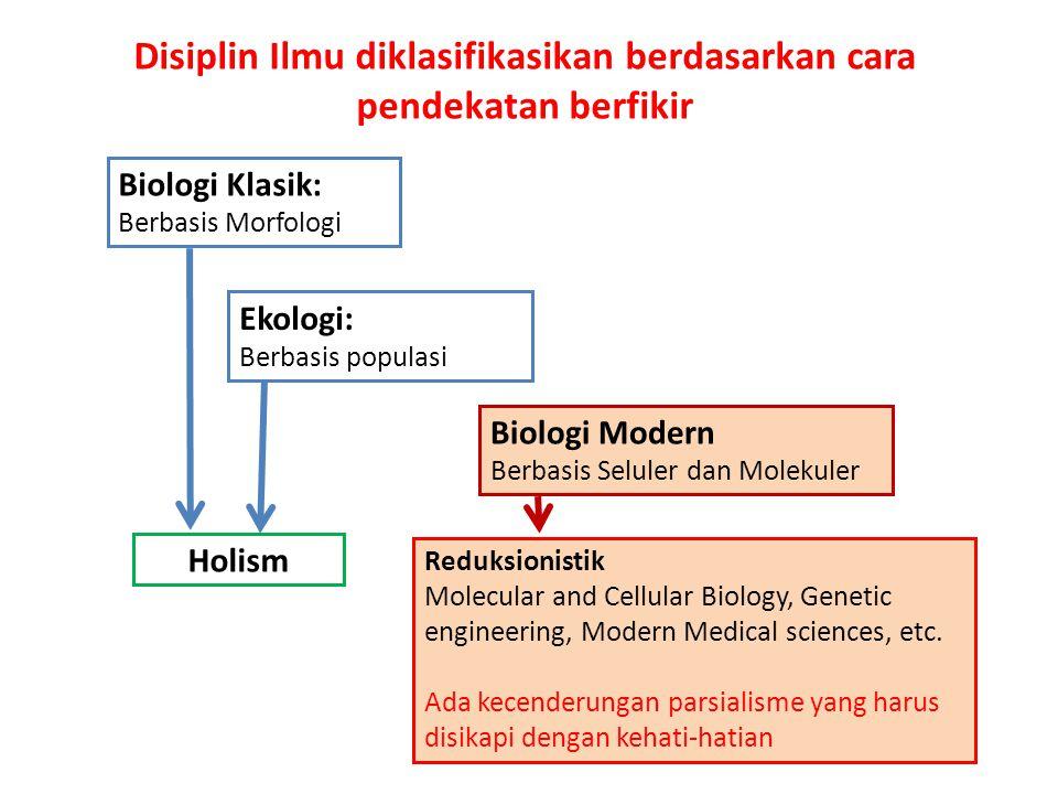 Biologi Klasik: Berbasis Morfologi Ekologi: Berbasis populasi Biologi Modern Berbasis Seluler dan Molekuler Holism Reduksionistik Molecular and Cellular Biology, Genetic engineering, Modern Medical sciences, etc.