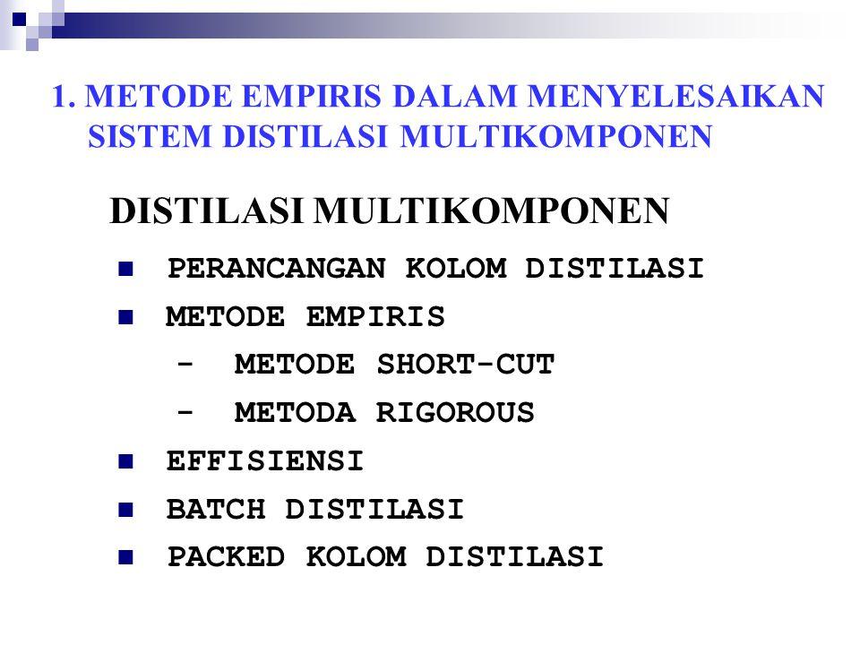 1. METODE EMPIRIS DALAM MENYELESAIKAN SISTEM DISTILASI MULTIKOMPONEN PERANCANGAN KOLOM DISTILASI METODE EMPIRIS - METODE SHORT-CUT - METODA RIGOROUS E
