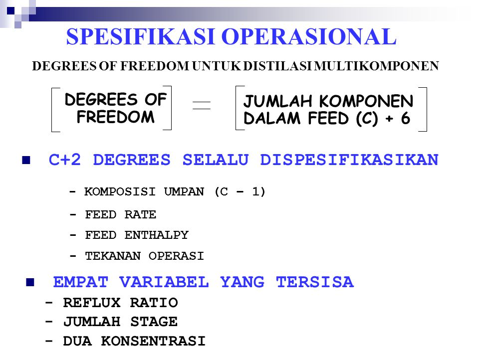 DEGREES OF FREEDOM JUMLAH KOMPONEN DALAM FEED (C) + 6 C+2 DEGREES SELALU DISPESIFIKASIKAN - KOMPOSISI UMPAN (C – 1) - FEED RATE - FEED ENTHALPY - TEKA