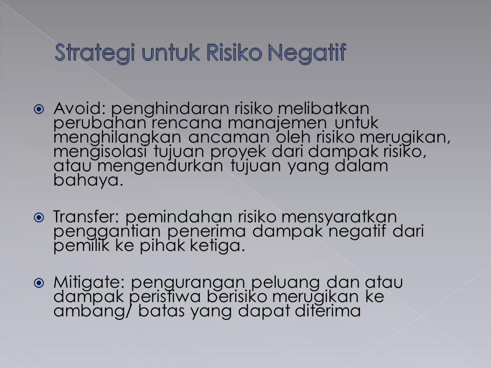  Avoid: penghindaran risiko melibatkan perubahan rencana manajemen untuk menghilangkan ancaman oleh risiko merugikan, mengisolasi tujuan proyek dari