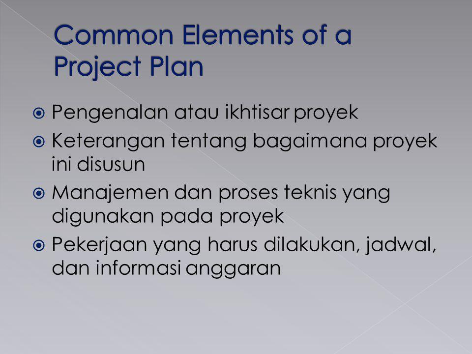  Pengenalan atau ikhtisar proyek  Keterangan tentang bagaimana proyek ini disusun  Manajemen dan proses teknis yang digunakan pada proyek  Pekerja