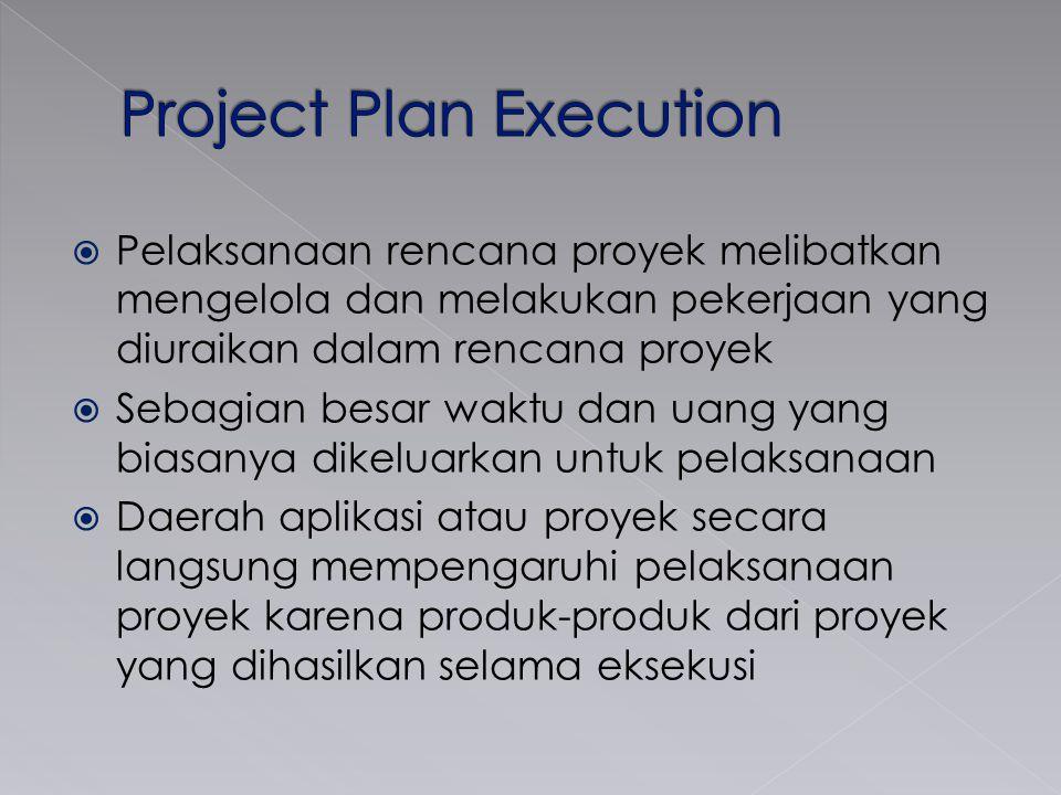  Pelaksanaan rencana proyek melibatkan mengelola dan melakukan pekerjaan yang diuraikan dalam rencana proyek  Sebagian besar waktu dan uang yang bia