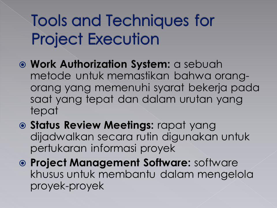  Work Authorization System: a sebuah metode untuk memastikan bahwa orang- orang yang memenuhi syarat bekerja pada saat yang tepat dan dalam urutan yang tepat  Status Review Meetings: rapat yang dijadwalkan secara rutin digunakan untuk pertukaran informasi proyek  Project Management Software: software khusus untuk membantu dalam mengelola proyek-proyek