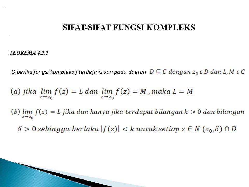 SIFAT-SIFAT FUNGSI KOMPLEKS TEOREMA 4.2.2 Diberika fungsi kompleks f terdefinisikan pada daerah..