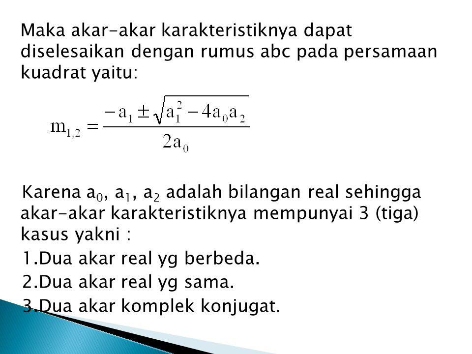 Maka akar-akar karakteristiknya dapat diselesaikan dengan rumus abc pada persamaan kuadrat yaitu: Karena a 0, a 1, a 2 adalah bilangan real sehingga a
