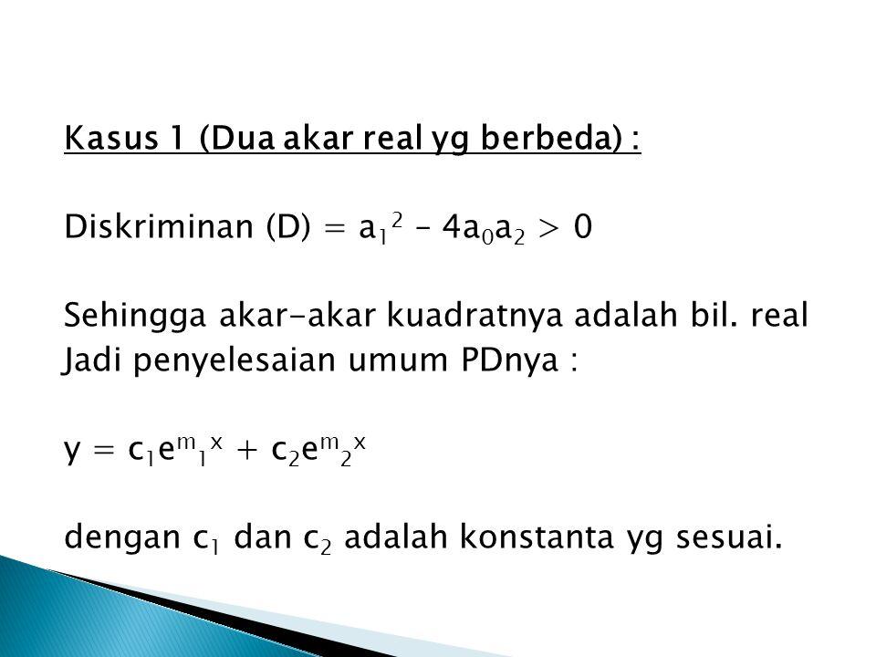 Kasus 1 (Dua akar real yg berbeda) : Diskriminan (D) = a 1 2 – 4a 0 a 2 > 0 Sehingga akar-akar kuadratnya adalah bil. real Jadi penyelesaian umum PDny