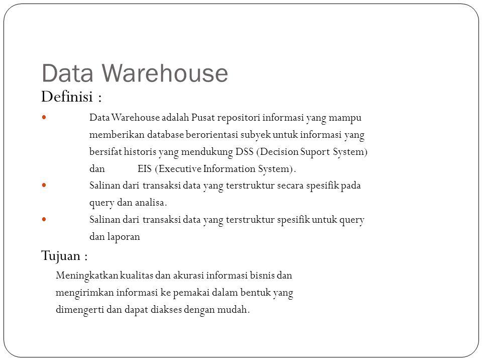 Data Warehouse Definisi : Data Warehouse adalah Pusat repositori informasi yang mampu memberikan database berorientasi subyek untuk informasi yang bersifat historis yang mendukung DSS (Decision Suport System) danEIS (Executive Information System).