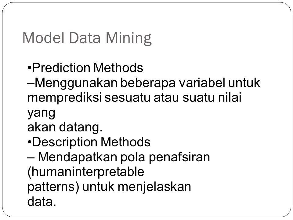 Model Data Mining Prediction Methods –Menggunakan beberapa variabel untuk memprediksi sesuatu atau suatu nilai yang akan datang.