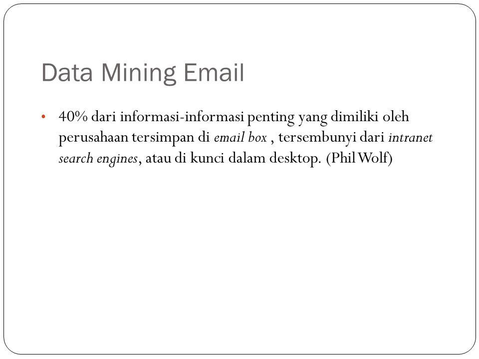 Data Mining Email 40% dari informasi-informasi penting yang dimiliki oleh perusahaan tersimpan di email box, tersembunyi dari intranet search engines, atau di kunci dalam desktop.