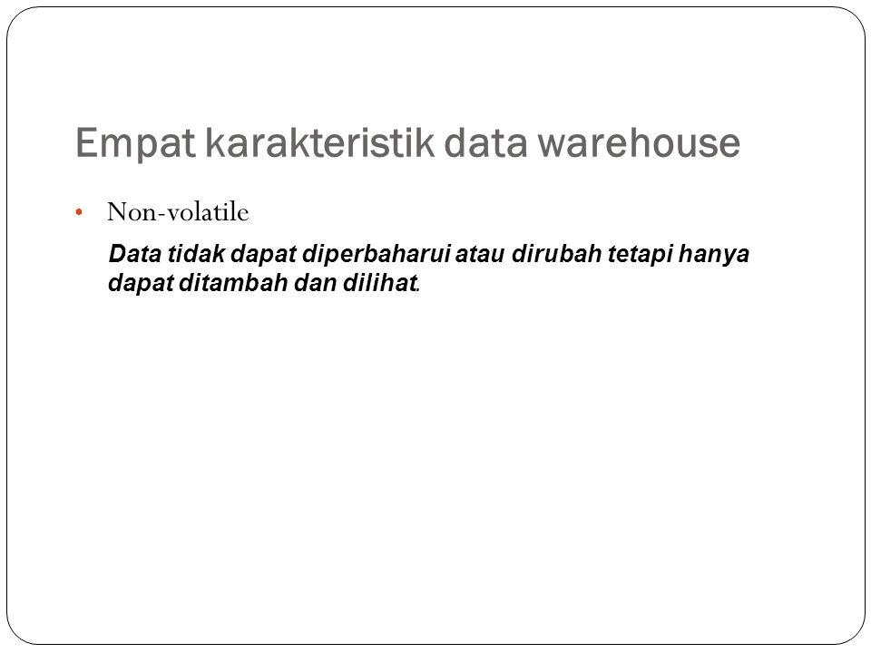Perbedaan Data Warehouse dan Database Data Warehouse – Tidak terikat suatu aplikasi – Data terpusat – Historical – Denormalisasi kecil – Multiple subject – Sumber dari dari semua internal maupun eksternal source – Fleksibel – Data oriented – Umurnya panjang – Ukuran besar – Single complex structure Database – Aplikasi DSS secara spesifik – Tidak terpusat oleh user area – Sebagian historical – Denormalisasi besar – One central subject of concern of user – Sumber dari sebagian internal maupun eksternal source – Tidak fleksibel, terbatas – Project oriented – Umurnya pendek – Ukuran dari kecil menjadi besar – Multi complex structure