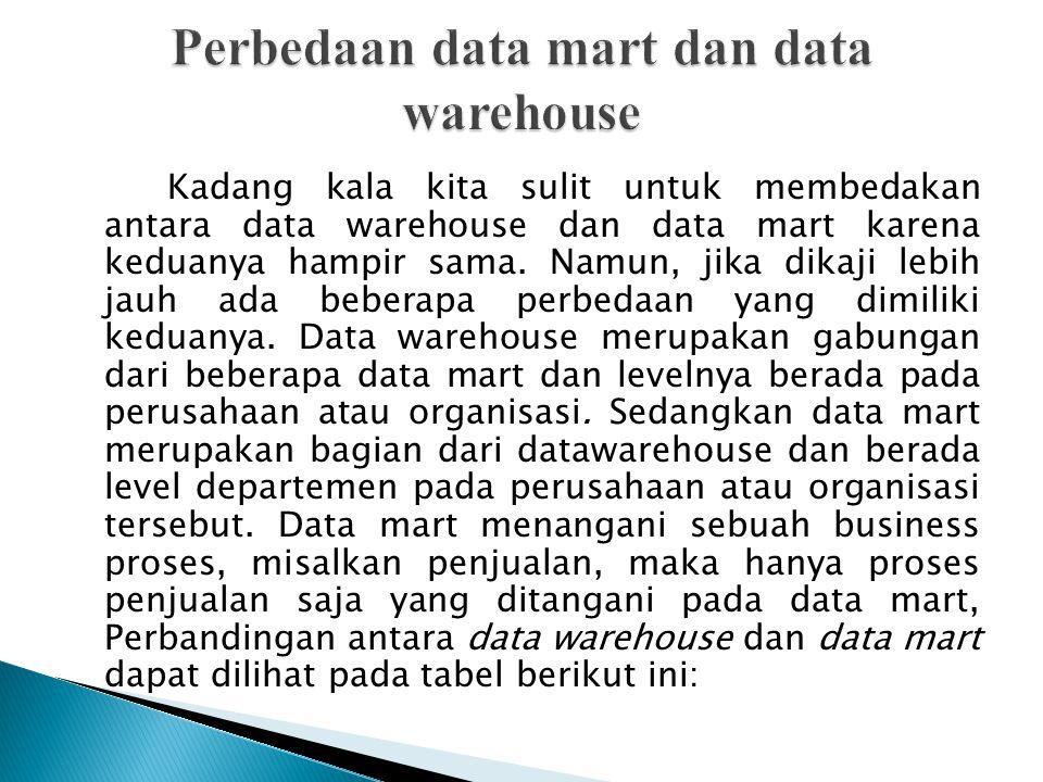 Kadang kala kita sulit untuk membedakan antara data warehouse dan data mart karena keduanya hampir sama. Namun, jika dikaji lebih jauh ada beberapa pe