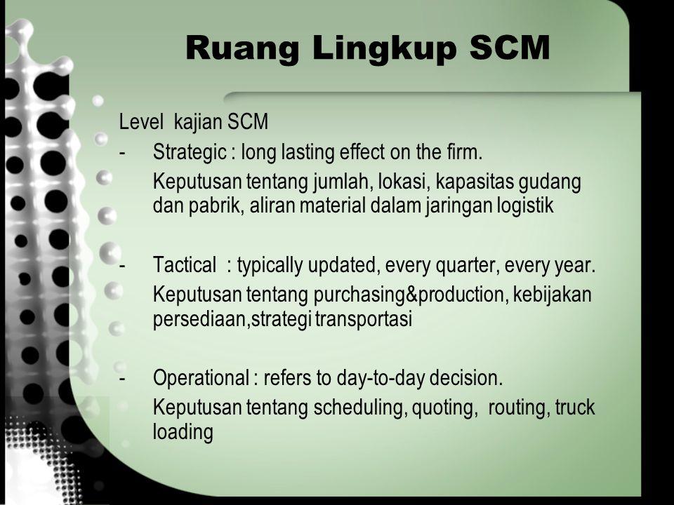 Ruang Lingkup SCM Level kajian SCM -Strategic : long lasting effect on the firm. Keputusan tentang jumlah, lokasi, kapasitas gudang dan pabrik, aliran