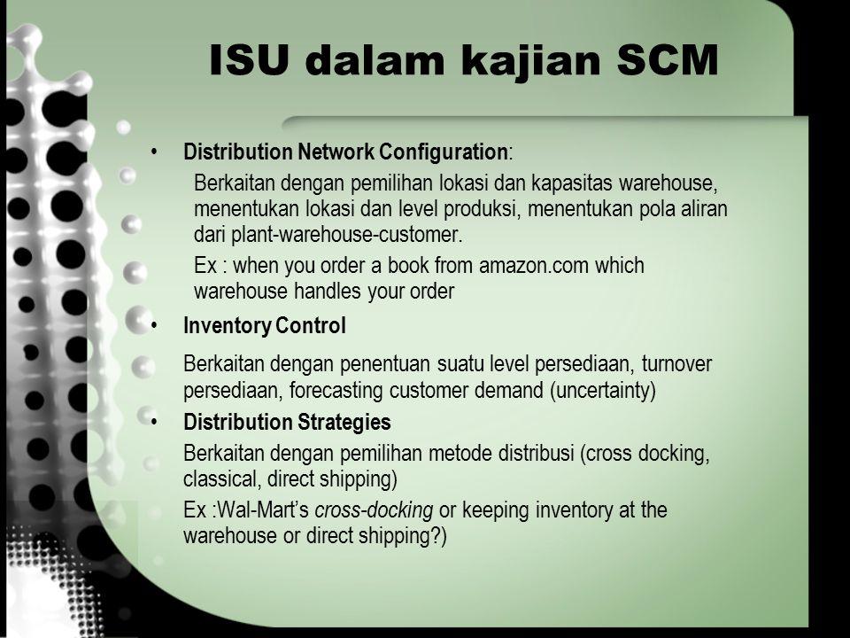 ISU dalam kajian SCM Distribution Network Configuration : Berkaitan dengan pemilihan lokasi dan kapasitas warehouse, menentukan lokasi dan level produ