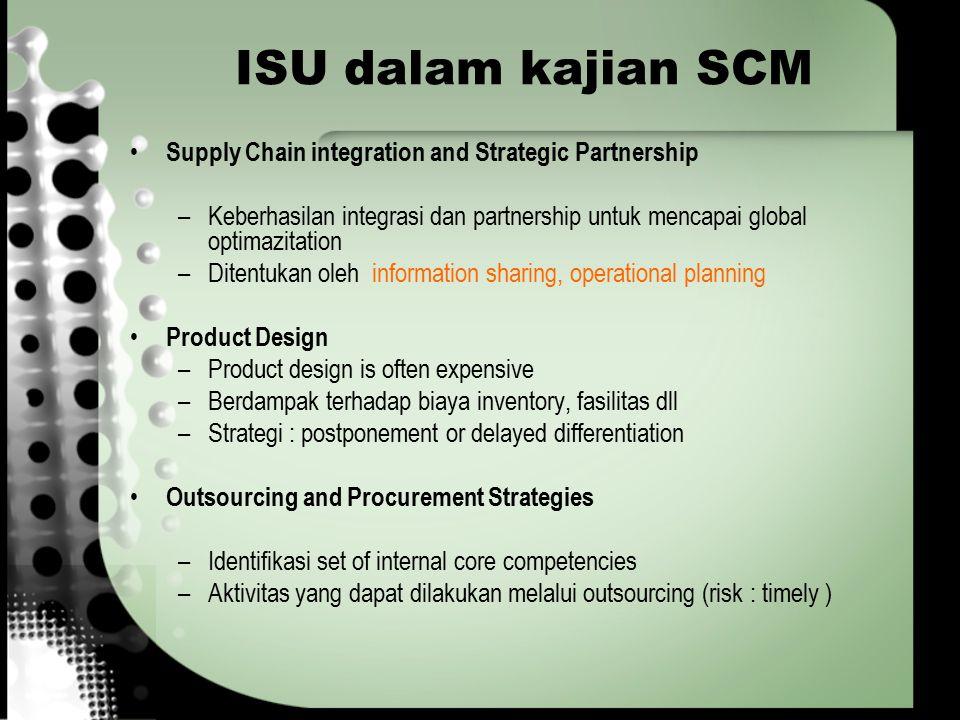 ISU dalam kajian SCM Supply Chain integration and Strategic Partnership –Keberhasilan integrasi dan partnership untuk mencapai global optimazitation –