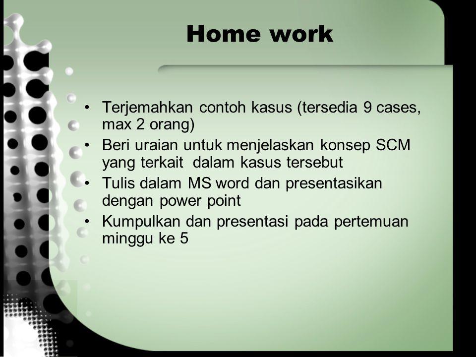 Home work Terjemahkan contoh kasus (tersedia 9 cases, max 2 orang) Beri uraian untuk menjelaskan konsep SCM yang terkait dalam kasus tersebut Tulis da