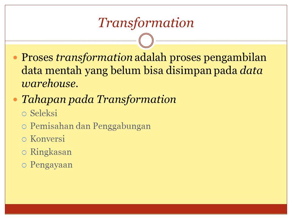 Transformation Proses transformation adalah proses pengambilan data mentah yang belum bisa disimpan pada data warehouse. Tahapan pada Transformation 