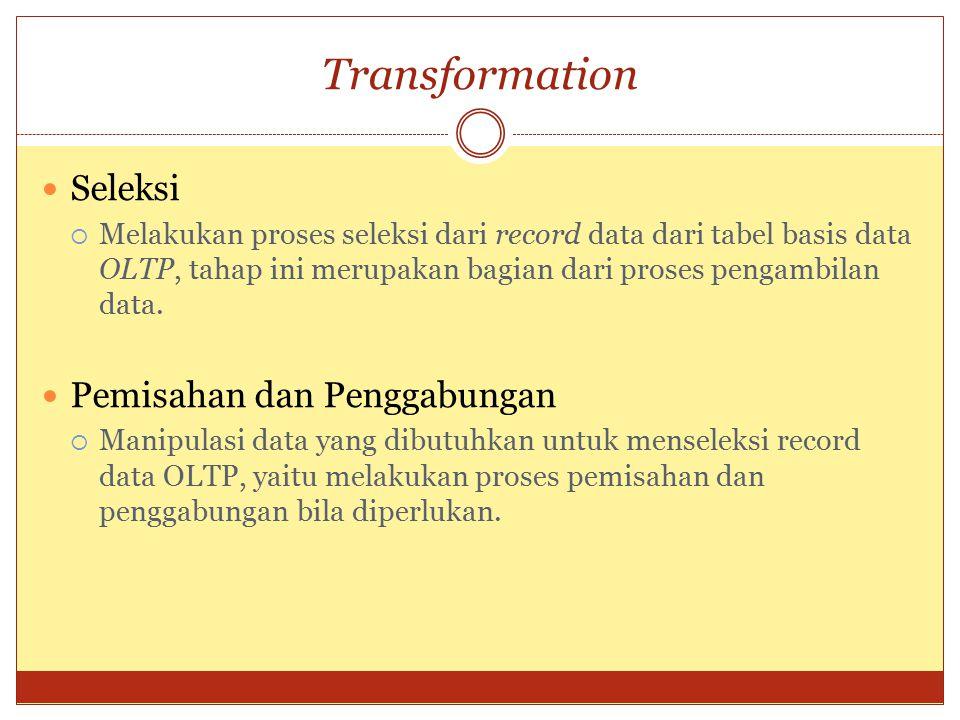 Transformation Seleksi  Melakukan proses seleksi dari record data dari tabel basis data OLTP, tahap ini merupakan bagian dari proses pengambilan data