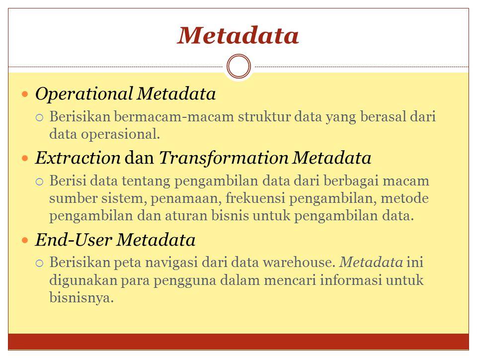 Metadata Operational Metadata  Berisikan bermacam-macam struktur data yang berasal dari data operasional. Extraction dan Transformation Metadata  Be