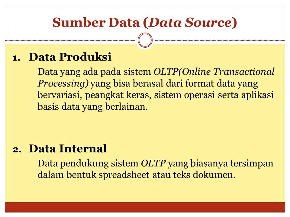 Sumber Data (Data Source) 1. Data Produksi Data yang ada pada sistem OLTP(Online Transactional Processing) yang bisa berasal dari format data yang ber