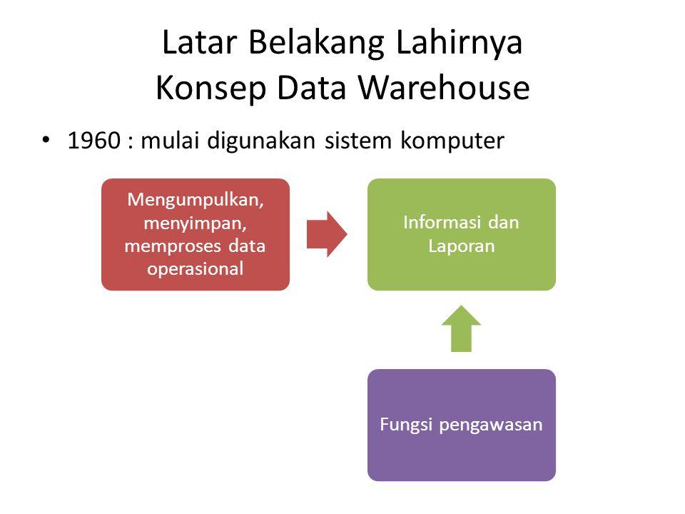 Latar Belakang Lahirnya Konsep Data Warehouse (2) 1990 : kegiatan bisnis berkembang lebih kompleks, perusahaan2 mulai terhubung secara global Kebutuhan para eksekutif akan informasi untuk proses pengambilan keputusan Pendekatan baru yang dapat menyediakan strategic information DATA WAREHOUSE