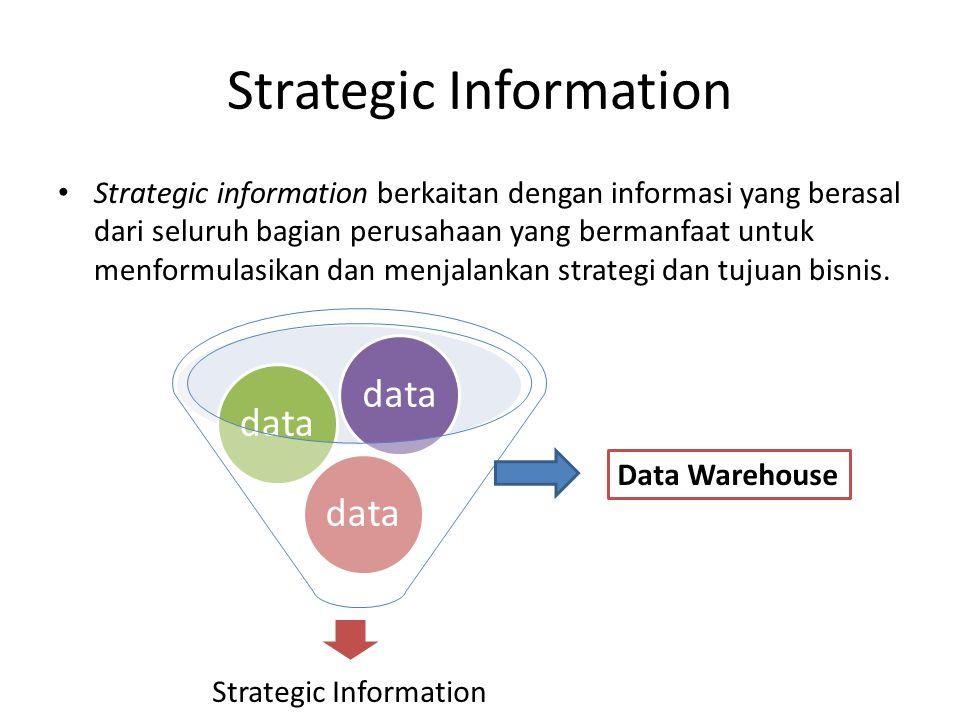 Strategic Information Strategic information berkaitan dengan informasi yang berasal dari seluruh bagian perusahaan yang bermanfaat untuk menformulasik