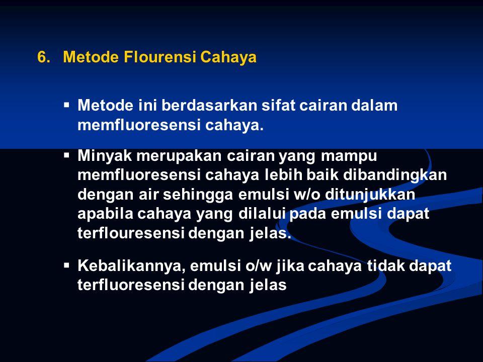 6. Metode Flourensi Cahaya  Metode ini berdasarkan sifat cairan dalam memfluoresensi cahaya.  Minyak merupakan cairan yang mampu memfluoresensi caha