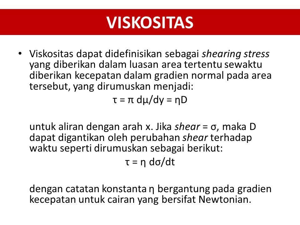 VISKOSITAS Viskositas dapat didefinisikan sebagai shearing stress yang diberikan dalam luasan area tertentu sewaktu diberikan kecepatan dalam gradien