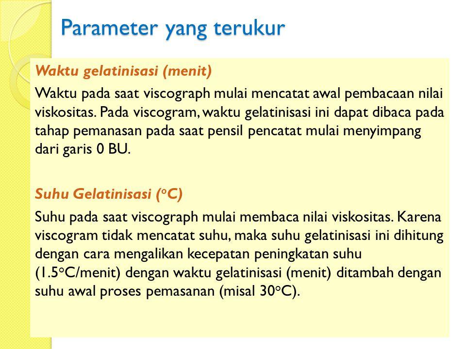 Parameter yang terukur Waktu gelatinisasi (menit) Waktu pada saat viscograph mulai mencatat awal pembacaan nilai viskositas. Pada viscogram, waktu gel