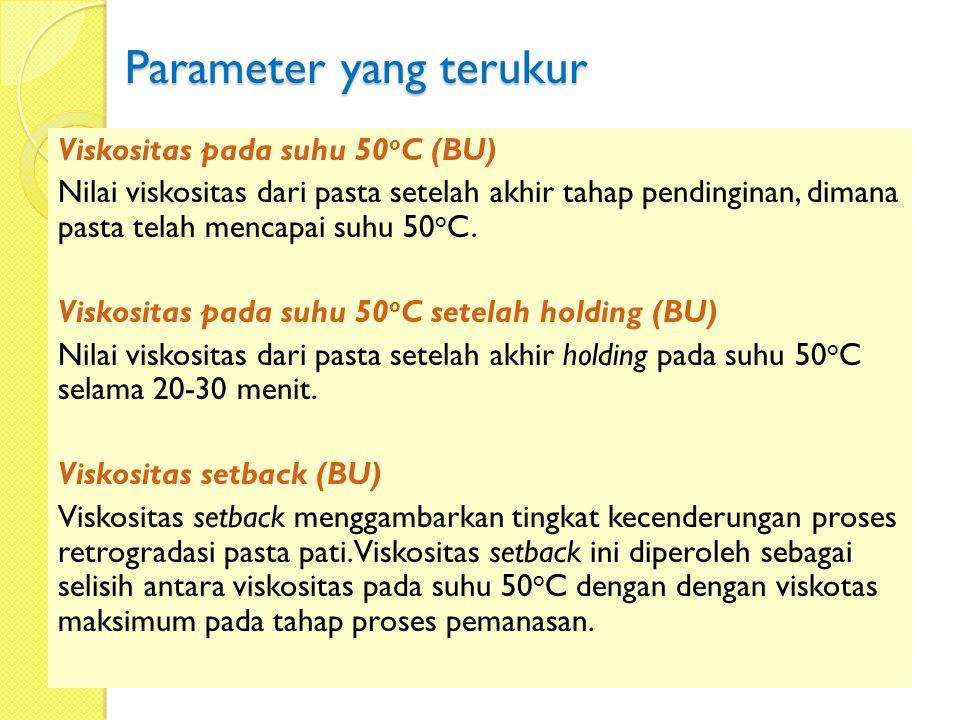 Parameter yang terukur Viskositas pada suhu 50 o C (BU) Nilai viskositas dari pasta setelah akhir tahap pendinginan, dimana pasta telah mencapai suhu