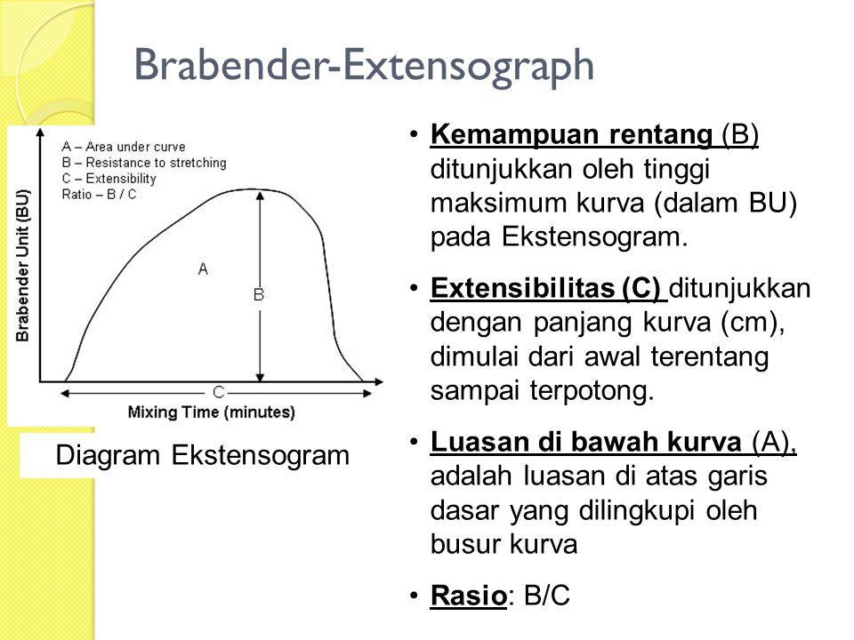 Brabender-Extensograph Diagram Ekstensogram Kemampuan rentang (B) ditunjukkan oleh tinggi maksimum kurva (dalam BU) pada Ekstensogram. Extensibilitas