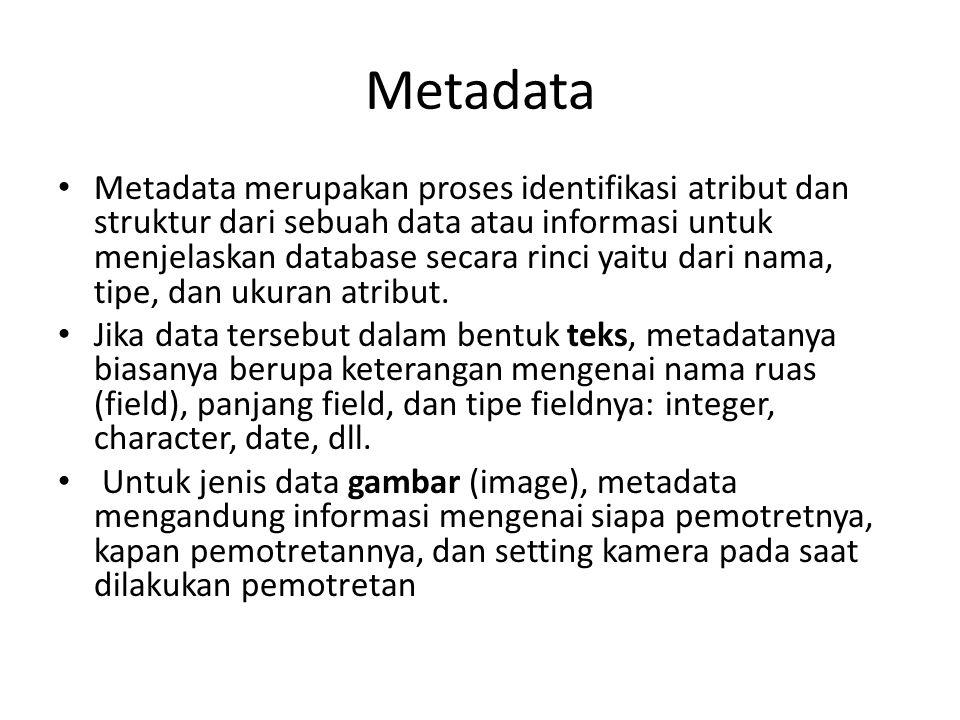 Metadata Metadata merupakan proses identifikasi atribut dan struktur dari sebuah data atau informasi untuk menjelaskan database secara rinci yaitu dar