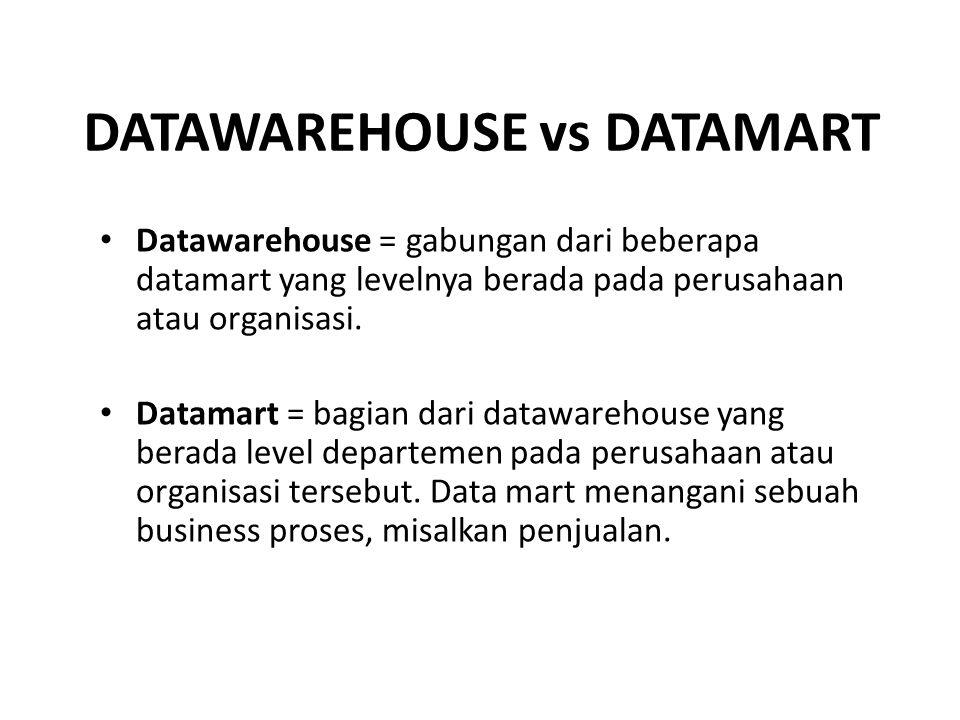 Datawarehouse = gabungan dari beberapa datamart yang levelnya berada pada perusahaan atau organisasi. Datamart = bagian dari datawarehouse yang berada