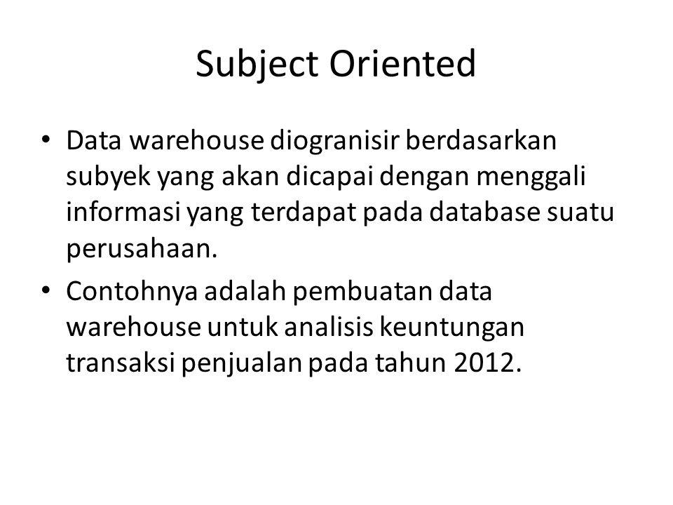 Subject Oriented Data warehouse diogranisir berdasarkan subyek yang akan dicapai dengan menggali informasi yang terdapat pada database suatu perusahaa
